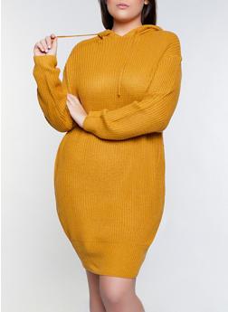 Plus Size Hooded Midi Sweater Dress - 1390051060090