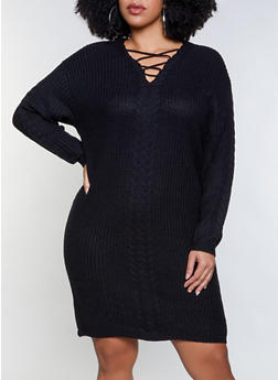 Plus Size Caged Sweater Dress - 1390051060094