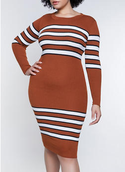 Plus Size Striped Detail Sweater Dress - 1390051060097