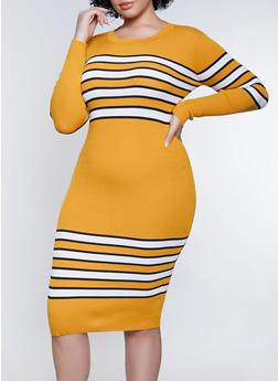 Plus Size Striped Detail Sweater Dress - 1390051060097