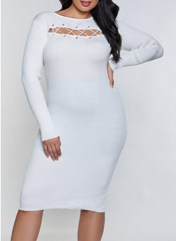 Plus Size Lace Up Ribbed Bodycon Dress - 1390051060102