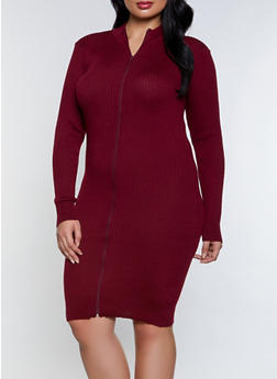 Plus Size Zip Front Sweater Dress - 1390051060103
