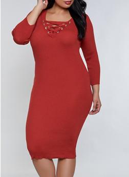 Plus Size Lace Up Midi Sweater Dress - 1390051060104