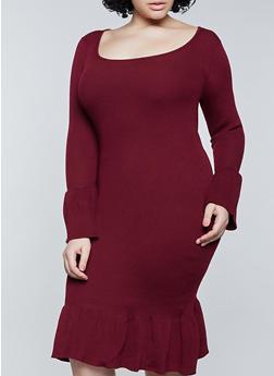 Plus Size Ribbed Ruffle Trim Sweater Dress - 1390051060105
