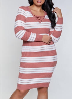 Plus Size Striped Lace Up Sweater Dress - 1390051060106