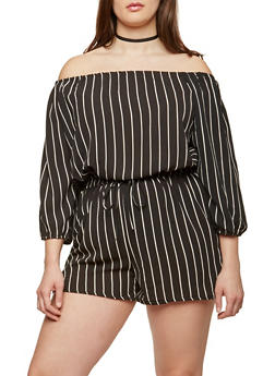 Plus Size Striped Off the Shoulder Romper - 1390051061116