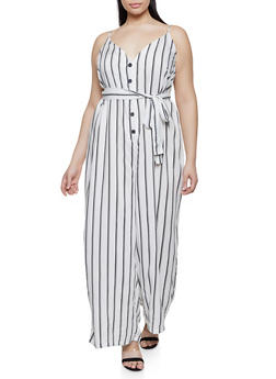 Plus Size Striped Palazzo Jumpsuit | 1390051061233 - IVORY - 1390051061233
