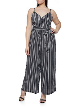 Plus Size Striped Palazzo Jumpsuit | 1390051061233 - BLACK/WHITE - 1390051061233