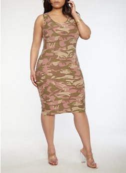 Plus Size Soft Knit Camo Dress - 1390051061477
