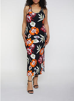 Plus Size Side Slit Floral Tank Maxi Dress - 1390051061954