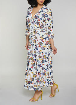 Plus Size Floral Faux Wrap Midi Dress - 1390051061955
