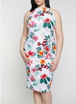 Plus Size Tropical Floral High Neck Dress - 1390051062946