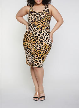 Plus Size Cheetah Tank Dress - 1390051062947