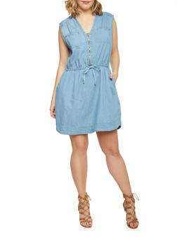 Plus Size Chambray Zip Front Dress - MEDIUM WASH - 1390051063070