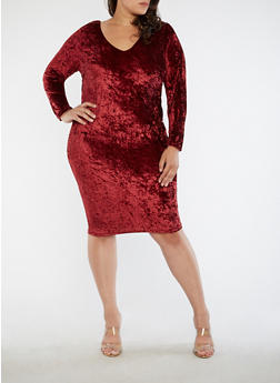 Plus Size Crushed Velvet Caged Back Dress - 1390051063245