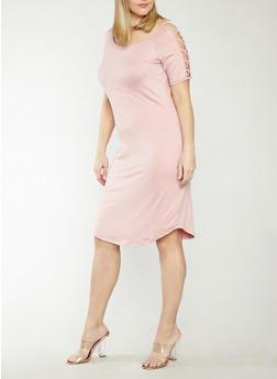 Plus Size Caged Shoulder Dress - 1390051063456