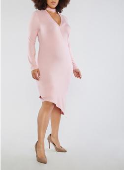 Plus Size Asymmetrical Keyhole Neck Dress - 1390051063466