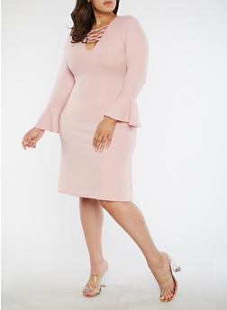 Plus Size Rib Knit Bell Sleeve Lace Up Dress - 1390051063485