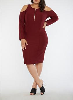 Plus Size Cold Shoulder Bodycon Dress - 1390051063493