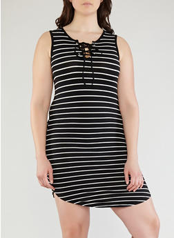 Plus Size Striped Lace Up Tank Dress - 1390051063500