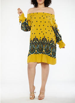 Plus Size Open Sleeve Paisley Print Dress - 1390051063572