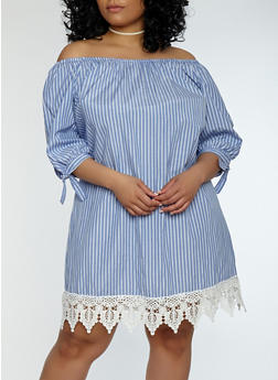Plus Size Striped Tie Sleeve Off the Shoulder Dress - 1390051063593