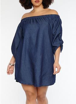 Plus Size Off the Shoulder Denim Dress - DARK WASH - 1390051063648