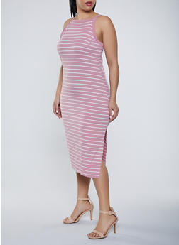 Plus Size Striped Square Neck Dress - 1390051063941