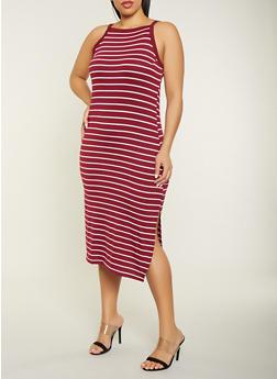 Plus Size Striped Square Neck Dress - 1390051063941