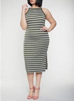 Plus Size Striped Tank Midi Dress - 1390051063942