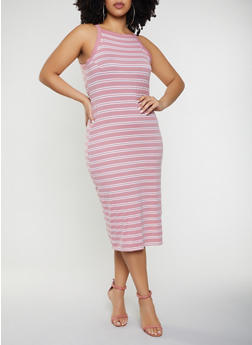 Plus Size Striped Tank Midi Dress - 1390051063942