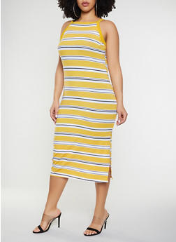 Plus Size Striped Square Neck Tank Dress - 1390051063943
