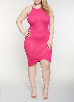 Plus Size Rib Knit Bodycon Dress - 1390051063944