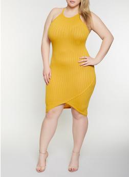 Plus Size Rib Knit Bodycon Dress - 1390051063944