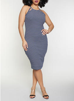 Plus Size Cut Out Striped Tank Dress - 1390051063952