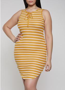 Plus Size Striped Tank Dress - 1390051063953