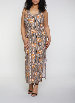 Plus Size Racerback Printed Maxi Dress - 1390051063954