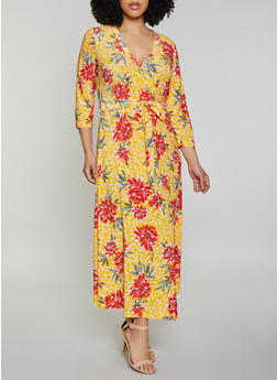 Plus Size Floral Faux Wrap Maxi Dress | 1390051063955 - 1390051063955
