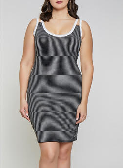 Plus Size Striped Double Strap Tank Dress - 1390051064044