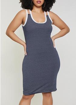 Plus Size Striped Double Strap Tank Dress - 1390051064044