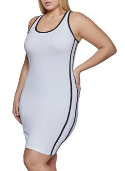 Plus Size Varsity Stripe Sleeveless Bodycon Dress - 1390051064353