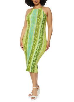 Plus Size Animal Print Soft Knit Cami Dress - 1390051064571