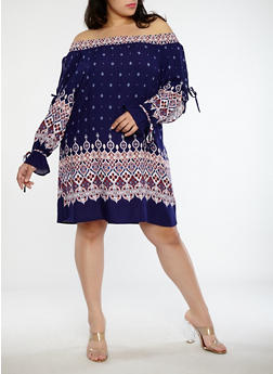 Plus Size Open Sleeve Printed Off the Shoulder Dress - 1390051064572