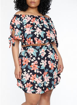 Plus Size Floral Tie Sleeve Shift Dress - 1390051064588
