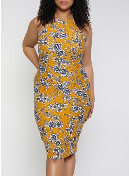 Plus Size High Neck Tank Dress - 1390051064946