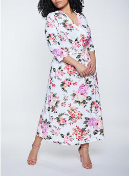 Plus Size Floral Faux Wrap Stretch Maxi Dress - 1390051065349