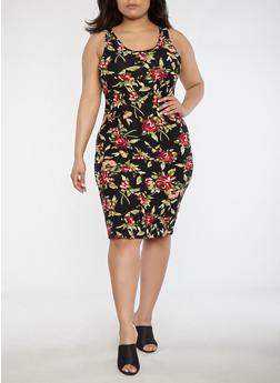 Plus Size Soft Knit Rose Print Dress - 1390051065477