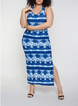 Plus Size Aztec Soft Knit Print Tank Maxi Dress - 1390051065954
