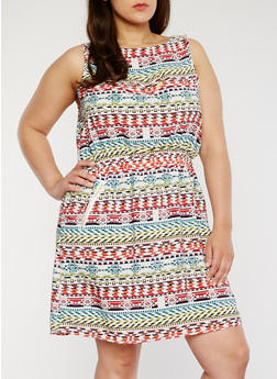 Plus Size Sleeveless Printed Dress with Cinched Waist - WHITE - 1390051066035