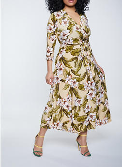 Plus Size Flower Print Faux Wrap Maxi Dress - 1390051066349